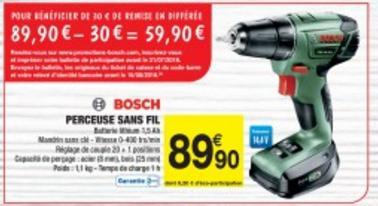 Sélection de produits d'entretien et bricolage en promo - Ex : Visseuse Bosch sans fil (via 30€ d'ODR)
