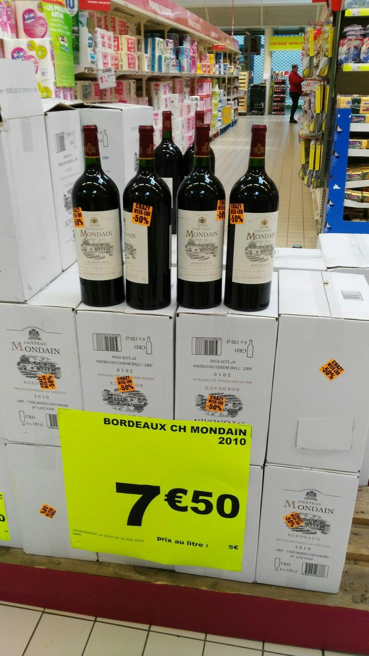 50% de réduction immédiate sur une sélection de vins - Ex: Bordeaux Château Mondain (150cl)