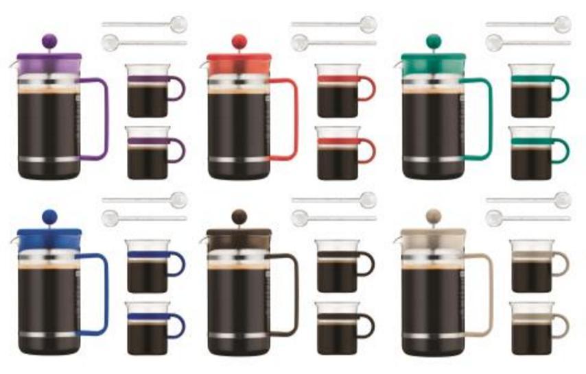 Cafetière à piston Bodum 1L + 2 tasses en verre Bodum 20cl + 2 agitateurs