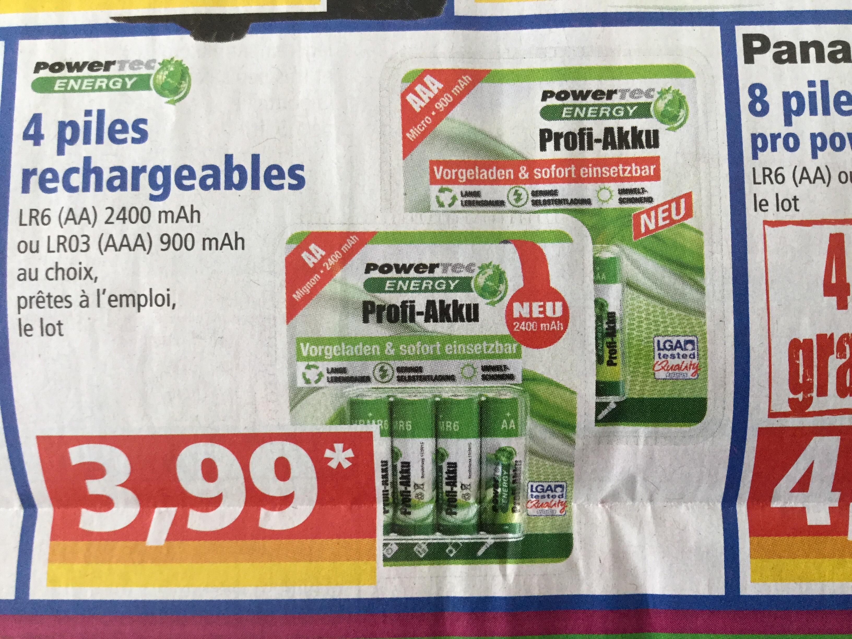 Sélection d'articles en promotion - Ex : Lot de 4 piles rechargeables PowerTec AA (2400 mAh) ou AAA (900 mAh)