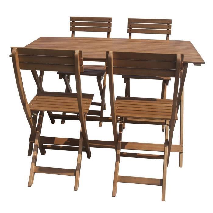 Ensemble table de jardin rectangulaire + 4 chaises en eucalyptus FSC