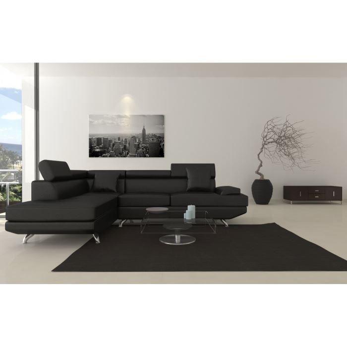 Canapé d'angle gauche simili Scoop XL 4 places - 259x182x80 cm - Noir