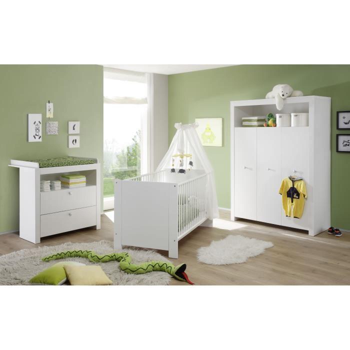 Chambre bébé Olivia complète 3 pièces : Lit + Armoire + Commode