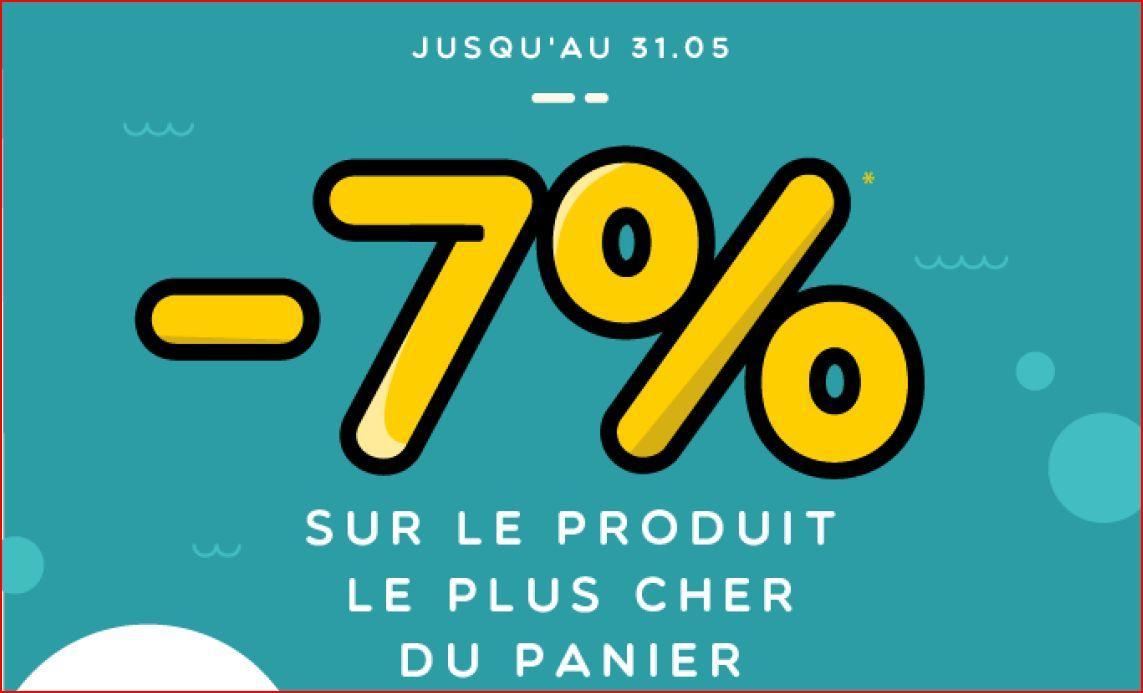 7% de réduction sur le produit le plus cher du panier