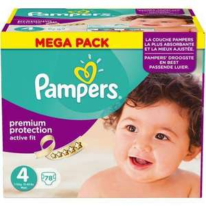 Sélection de packs de couches Pampers en promotion - Ex : lot de 78 couches active fit taille 4 (via 14.40€ sur la carte Waaoh + bdr sur le site pampers)