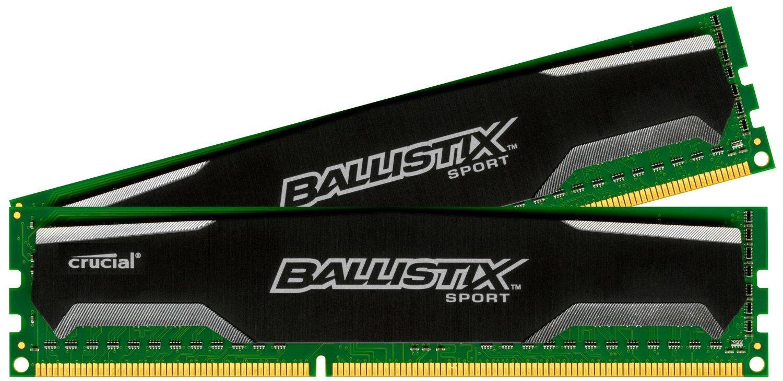 Kit de 2 barrettes de 2x8Go Go de RAM (16 Go)  Crucial Ballistix Sport DDR3 PC3-12800 CL9