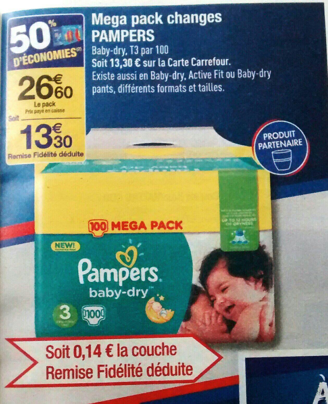 Méga pack 100 couches Pampers Baby Dry T3 (via 50% sur la carte)