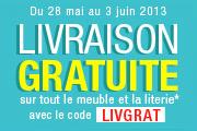 Livraison gratuite sur la literie et les meubles, à partir de 49€ d'achats