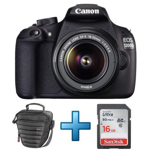 Appareil photo reflex Canon EOS 1200D + Objectif 18-55 mm DC III + Sacoche Hama + Carte SDHC 16 Go
