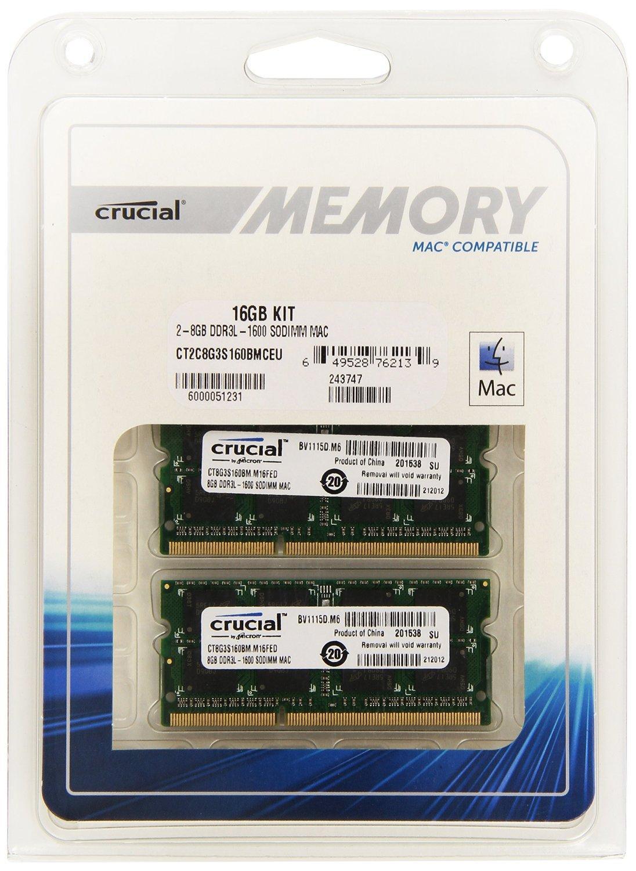 Kit Mémoire Crucial 16 Go (2 x 8 Go) SoDimm DDR3L 1600 MHz pour Mac