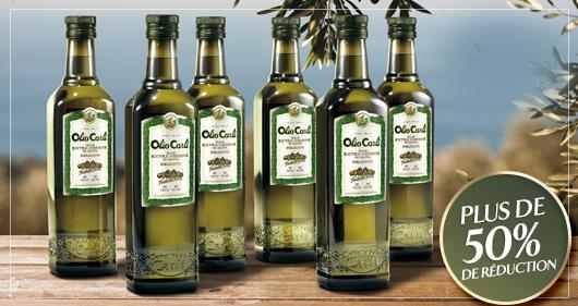 6 bouteilles de 50cl d'huile d'olive vierge extra + huilier et poêle en cadeau