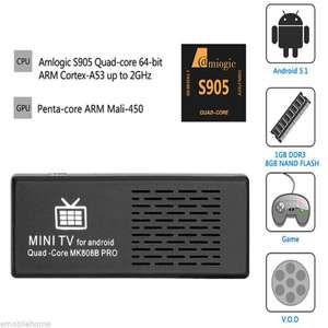 Dongle HDMI Android MK808B Pro 4K Amlogic S905 Android 5.1 64Bit Quad Core 1G/8G