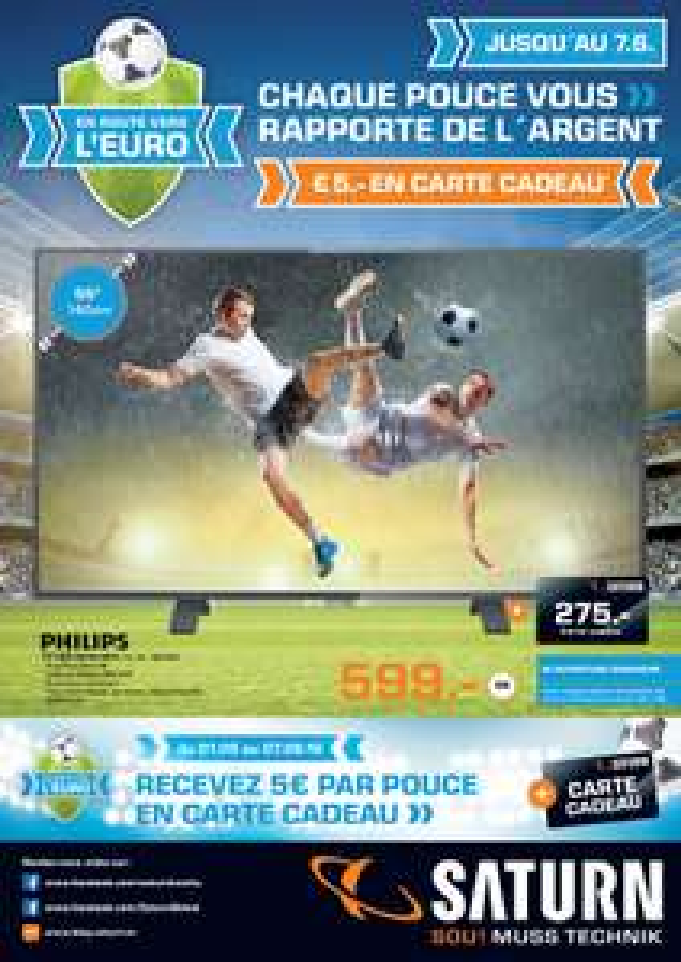 5€ offerts en carte cadeau par pouce de diagonale d'écran