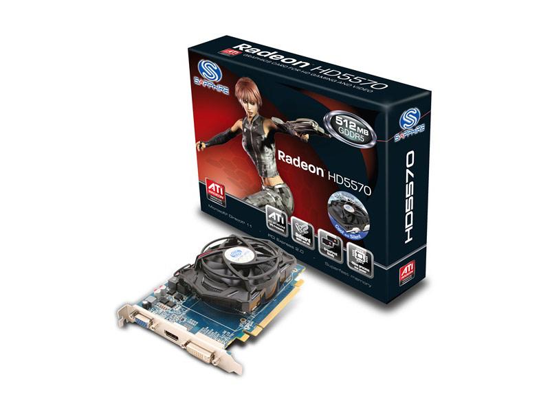 Carte graphique Sapphire HD5570 512mo GDDR5 PCI-E HDMI / DVI-I / DP (ROHS) LITE