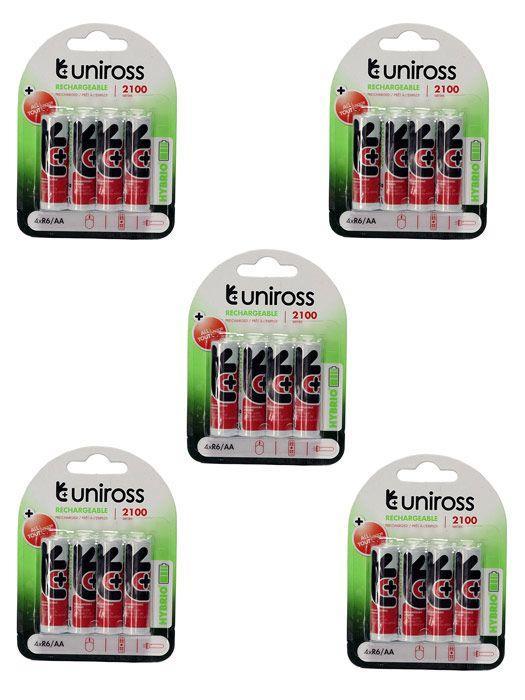 20 Piles Rechargeables Uniross R6/AA - 2050mAh, 1,2v