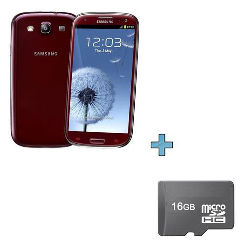 Samsung Galaxy S3 Rouge (ou Bleu) + Carte Mémoire 16 Go (après ODR 50€)