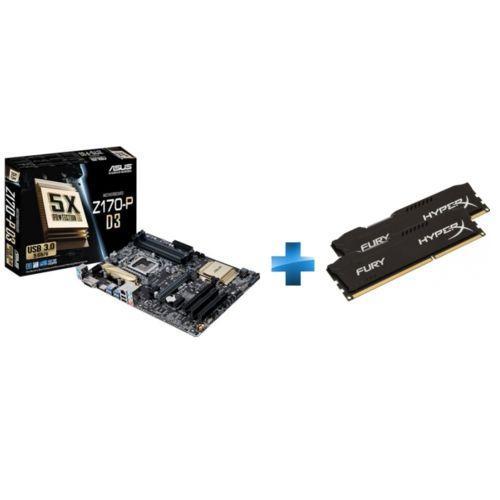 Carte mère Asus Z170-P-D3 + Kit mémoire Kingston HyperX Fury 8 Go (2 x 4 Go) - 1600 MHz, DDR3L, CL11