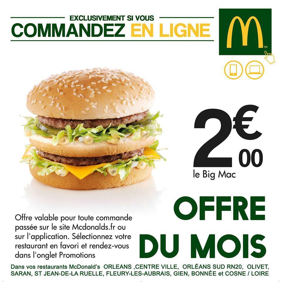 Hamburger Big mac, via commande en ligne