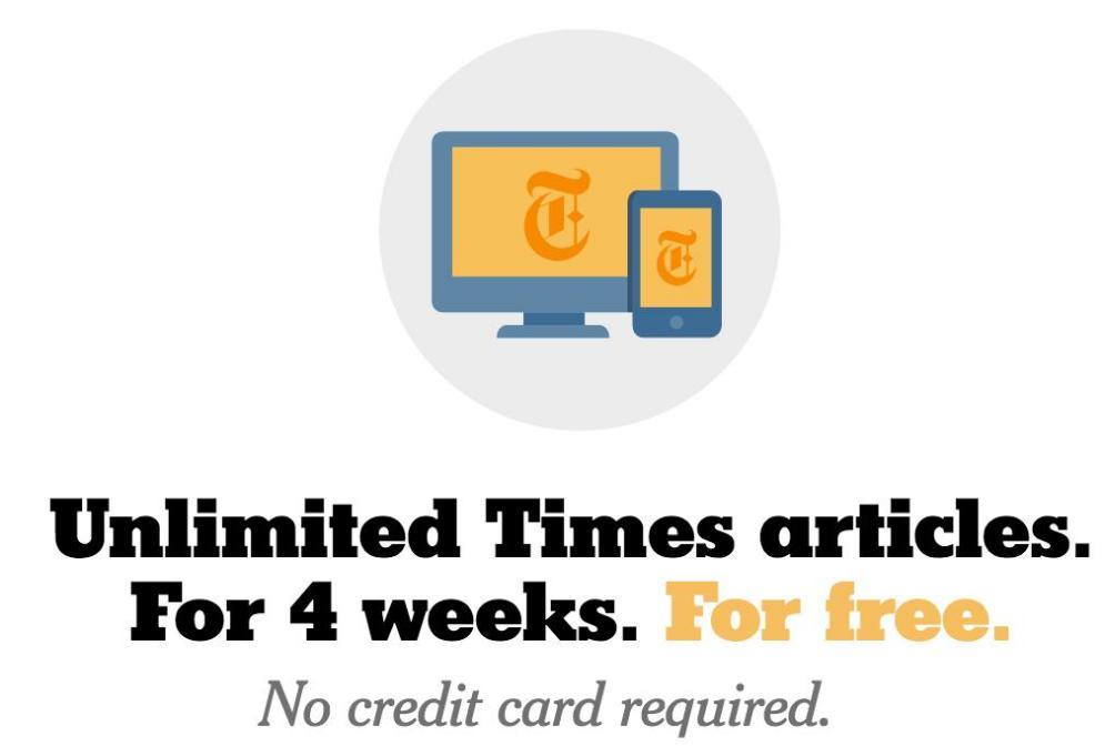 Tous les articles du New York Times (Anglais) gratuits pendant 4 Semaines