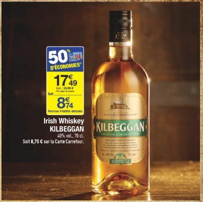 Sélection d'alcools et de bières en promotion - Ex : Bouteille de 70cl Irish Whiskey Kilbeggan (via 8.75€ sur la carte)