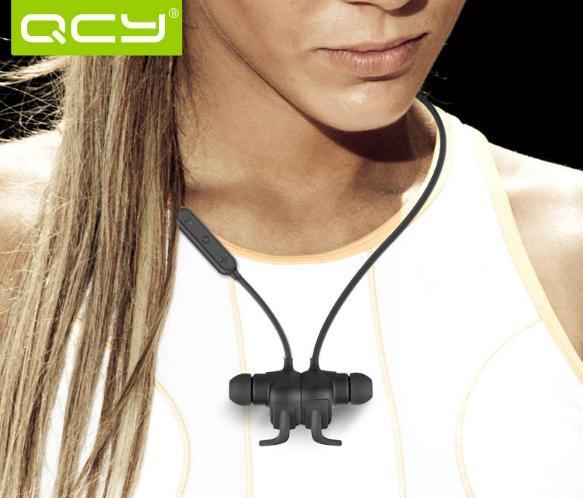 Écouteurs Sans-fil magnétiques Sport Qcy QY12 avec microphone et télécommande (Coloris au choix) - Bluetooth Apt-X