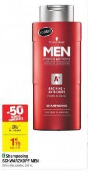 Shampooing Schwarzkopf Men Power Action 3 - 250ml (Via réduction immédiate + BDR)