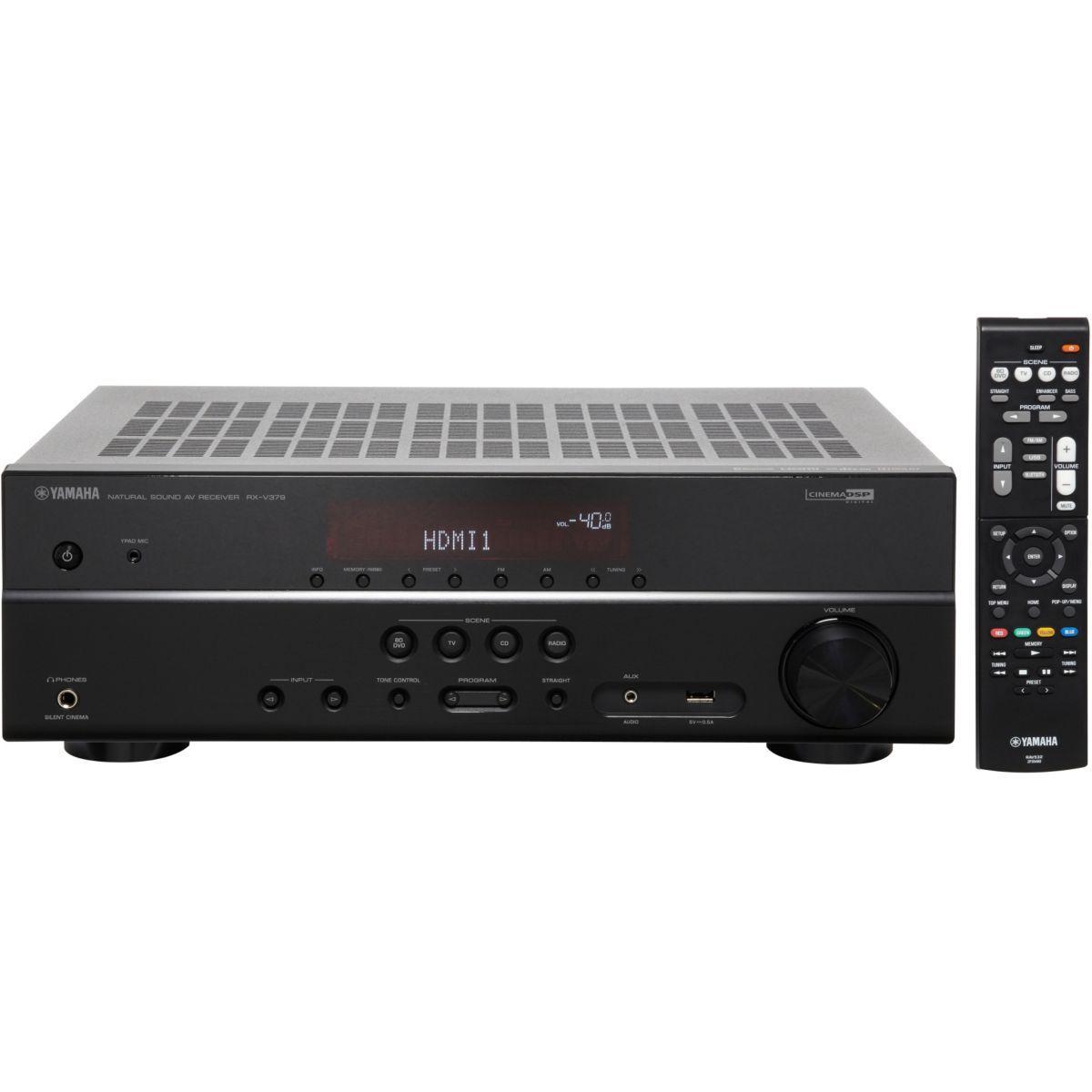 Amplificateur Home Cinéma 5.1 Yamaha RXV379 - HDMI/Bluetooth, 5 x 100 W, Noir