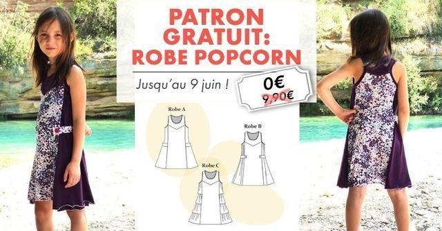 Patron gratuit : Robe Popcorn en jersey fillette pour l'été (du 2 au 12 ans)