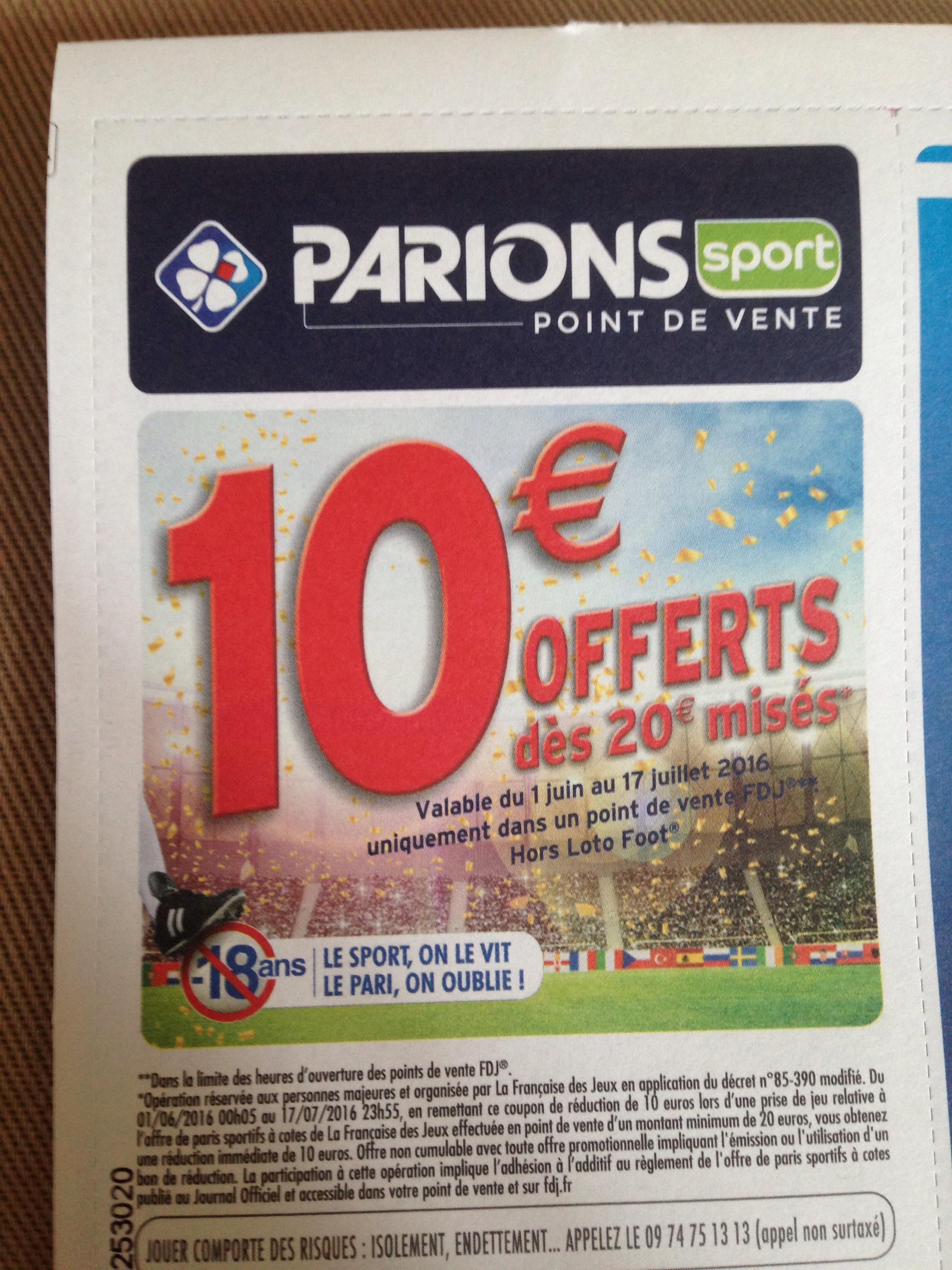 10€ de réduction (dès 20€) Parions sport dans le magazine L'Equipe