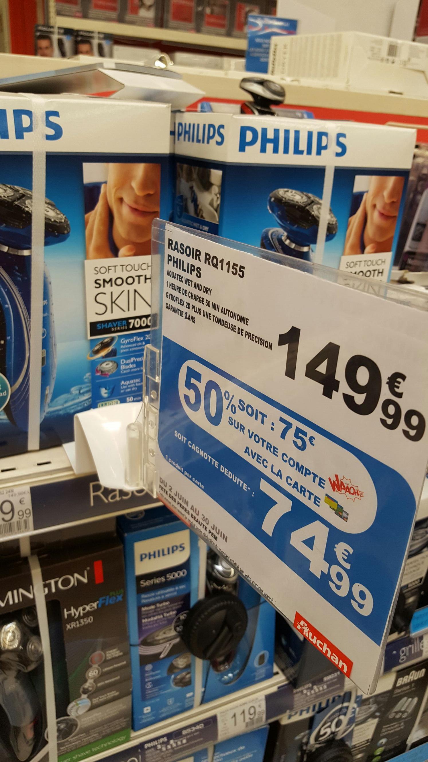 Rasoir Philips RQ1155 (avec 74.99€ sur la carte)