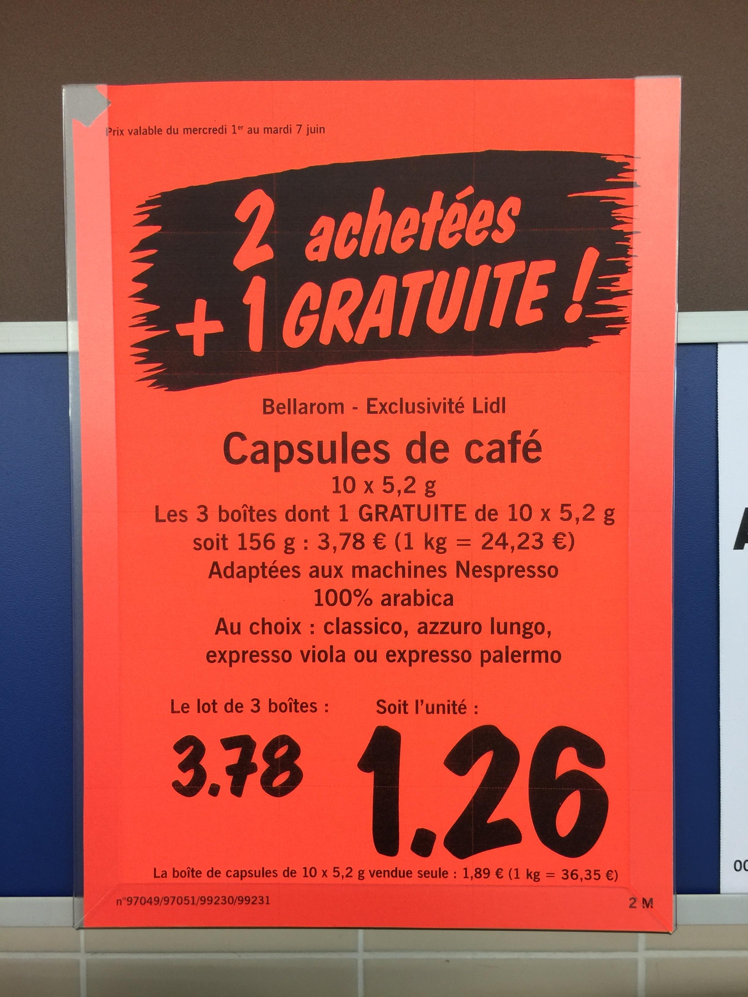 2 boites de capsules compatibles Nespresso achetées = 1 offerte, soit le lot de 3
