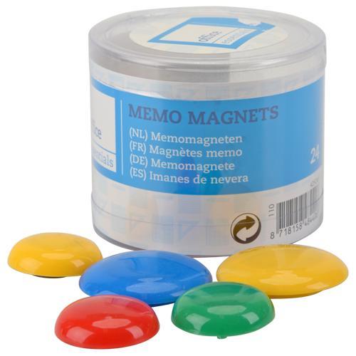 Aimants type bouton - Plusieurs couleurs, 24 pièces
