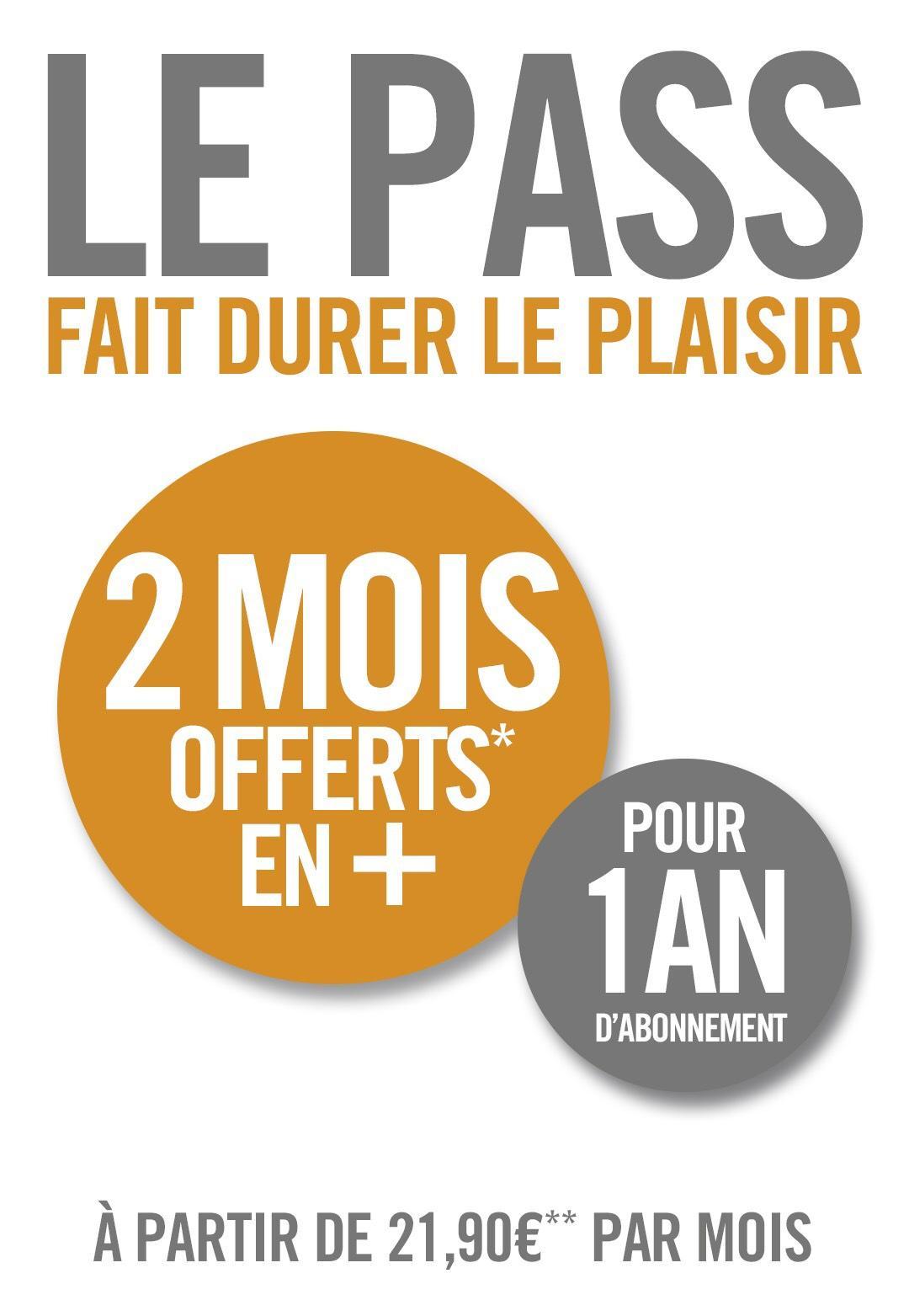 2 mois offerts pour tout abonnement 1an au programme Le Pass