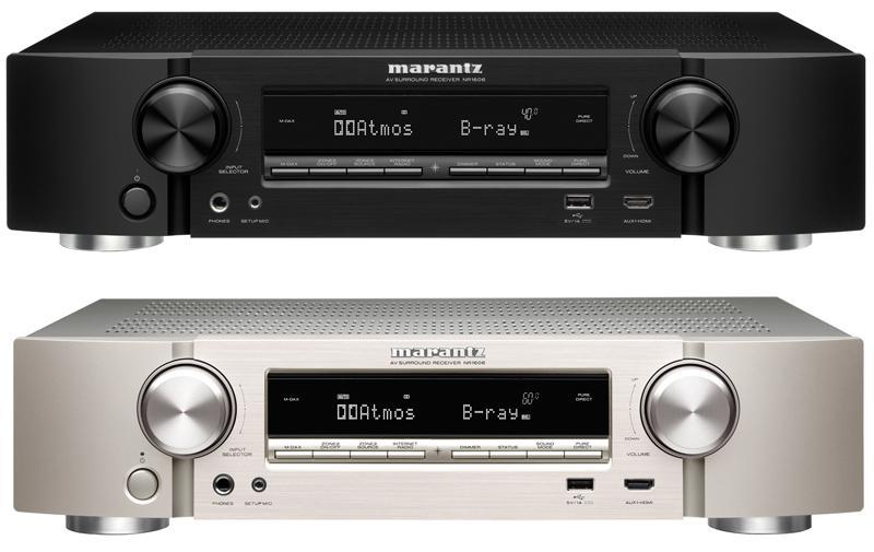 Ampli HC 7.2 ou 5.2.2 Marantz NR1606 Slim (Coloris au choix) - Passthrough/Upscaling 4K, 3D, Pre-outs, Dolby Atmos, DTS:X, HDCP 2.2, Spotify/Airplay/Bluetooth/Wi-Fi/USB & MultEQ (8,5Kg)