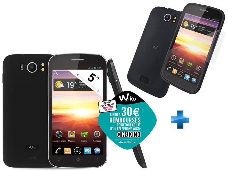 Smartphone Wiko Cink King Noir + Coque avec ODR (30€) via Buyster