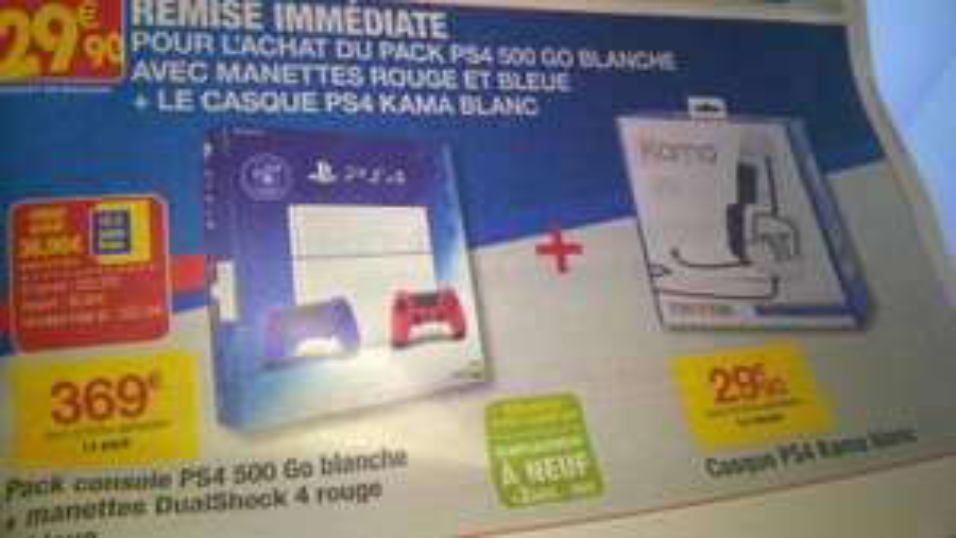 Pack Console Sony Playstation 4 500 Go + 2 manettes bleue et rouge + casque Kama Tritton