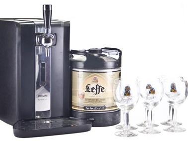 Tireuse à Bière Philips Perfect Draft HD 3620 + 1 Fut consigné de Leffe Blonde 6L + 6 Verres Leffe