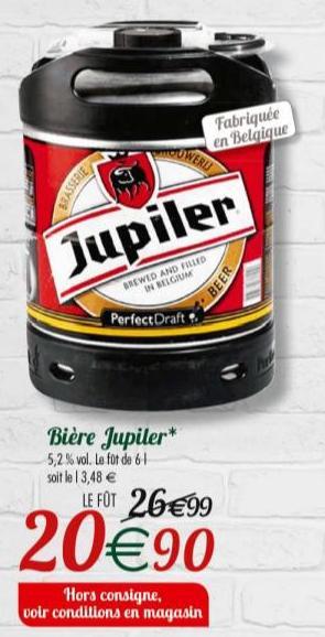 Sélection de Fûts de bière Perfect Draft en promotion - Ex : Fût de Bière Jupiler - 6 Litres