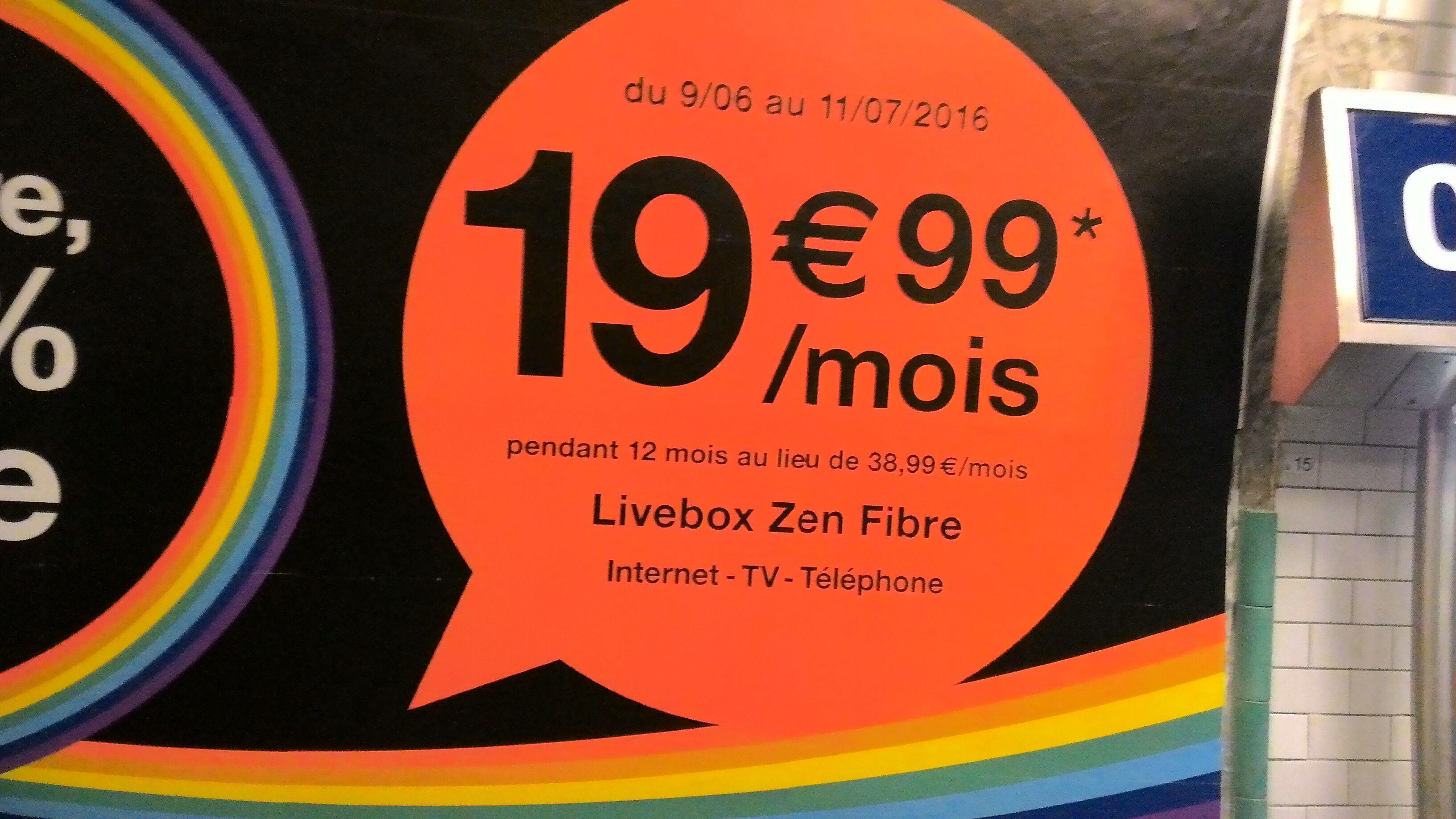 [Nouveaux clients Fibre] Livebox Zen pendant 1 an en changeant d'opérateur