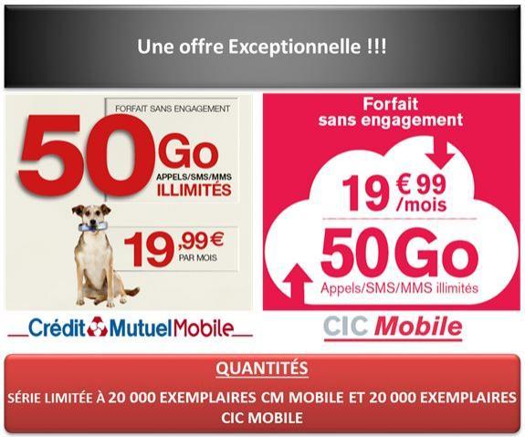 Forfait Crédit Mutuel et CIC Série Limitée - Appels/SMS/MMS illimité + 50 Go DATA