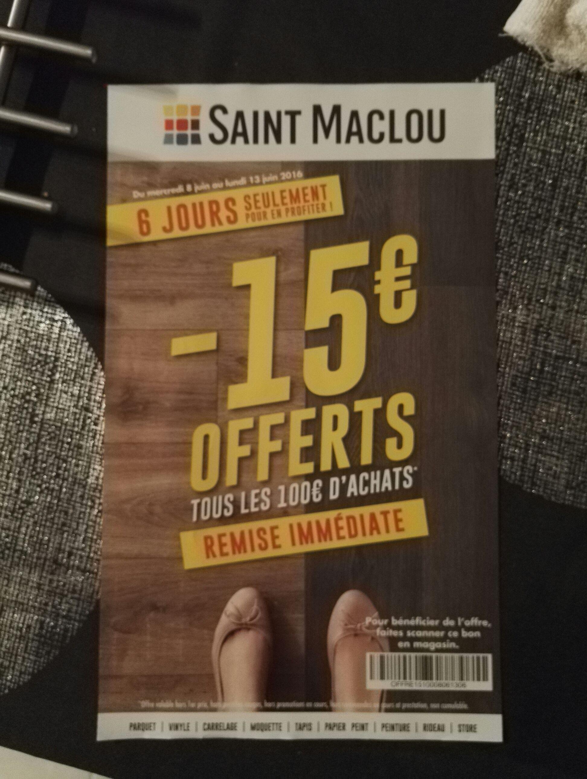15€ de réduction tous les 100 € d'achat (hors promotions, prestations...)