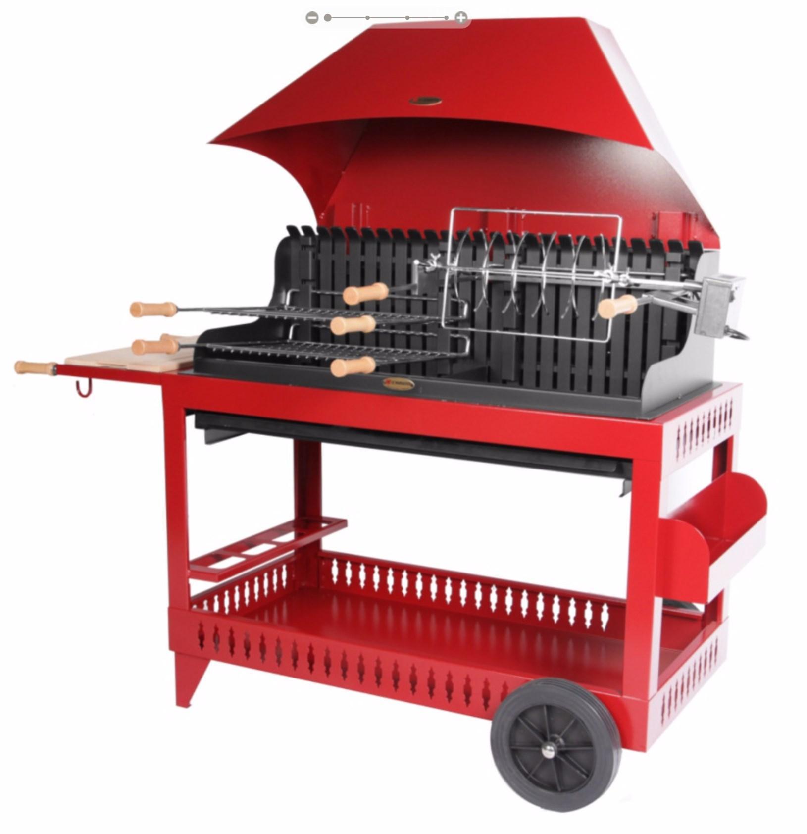 Barbecue Arthur Lemarquier - Double foyer, chariot et hotte incluse