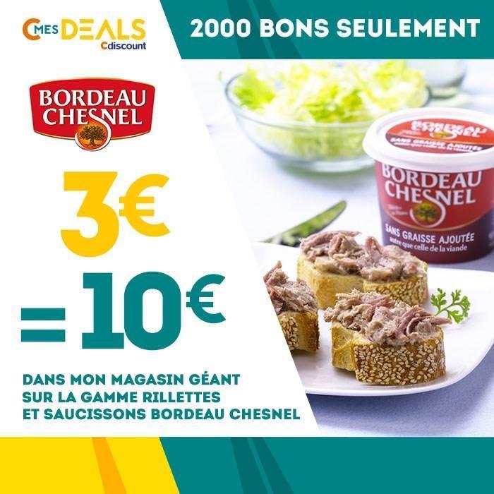 10€ à dépenser sur les rillettes et saucissons Bordeau Chesnel