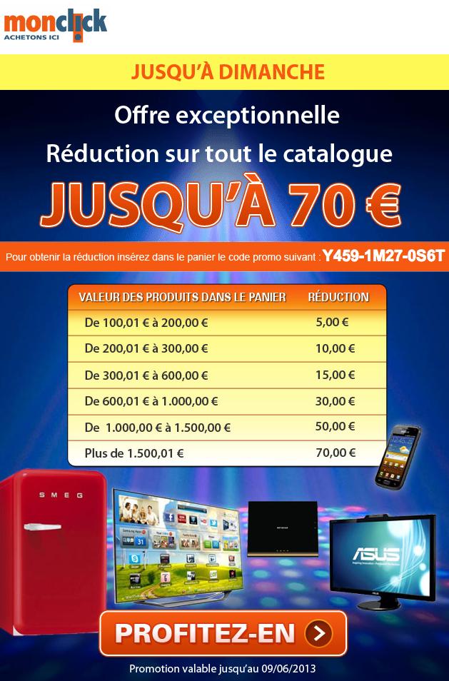 De 5 à 70€ de réduction en fonction du montant de votre panier (à partir de 100€ d'achats)