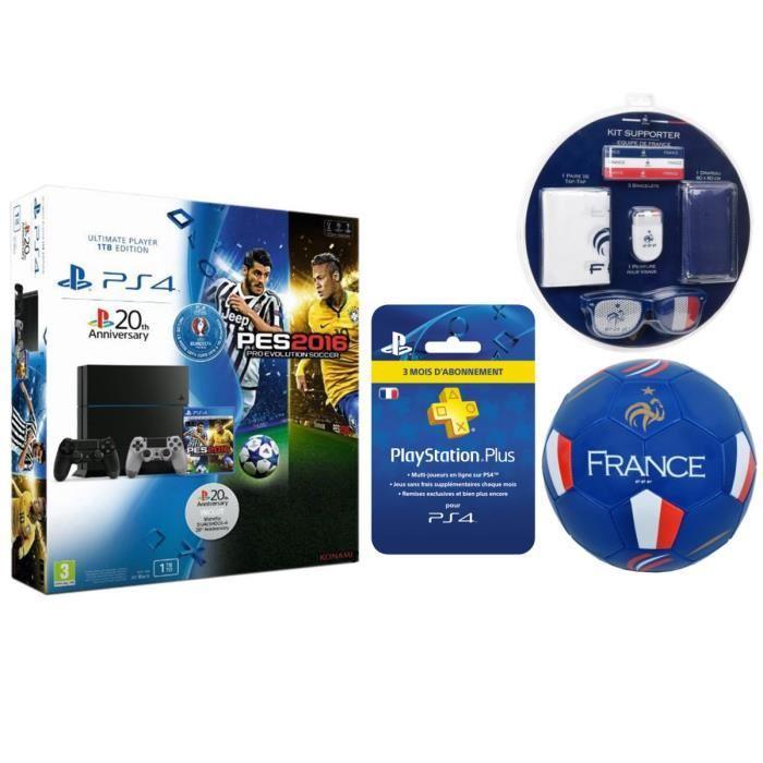 Pack Console Sony PS4 1 To (Châssis C) + PES Euro 2016 + 2ème Manette + Abonnement 3 mois PS Plus + Kit supporter + Ballon