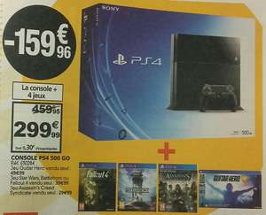 Pack Console Sony PS4 500 Go + 4 jeux (Fallout 4, Star Wars Battlefront, Assassin's Creed Syndicate, Guitar Hero Live)