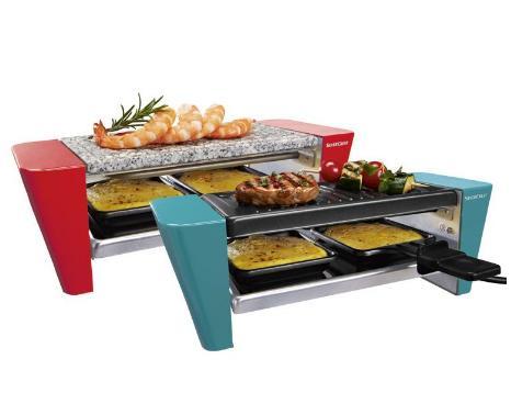 Mini appareil raclette grill OU pierrade SilverCrest (bleu ou rouge) 450W