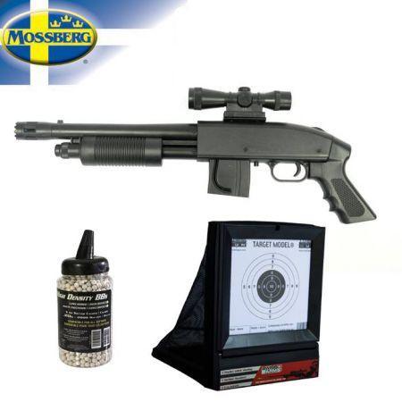[+18ans] Pack Réplique d'Airsoft Fusil à Pompe Mossberg 590 Grip Model + Cible Avec Filet + Biberon 2000 Billes 0.20g