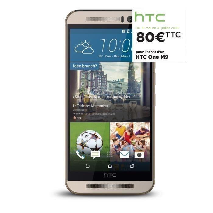 """Jusqu'à 100 % Remboursés en 2 bons d'achat sur une sélection - Ex : Smartphone 5"""" HTC One M9 Argent ou Acier (via ODR de 80€) + 299.99€ en 2 bons d'achat"""