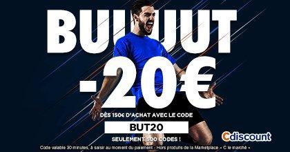 10€ de réduction pour chaque but de la France - Ex : 20€ de réduction immédiate dès 150€ d'achat